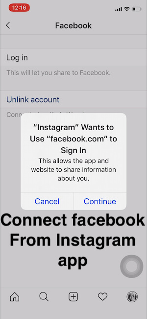 Connect Your Account from Instagram to FaceBook from Instagram app