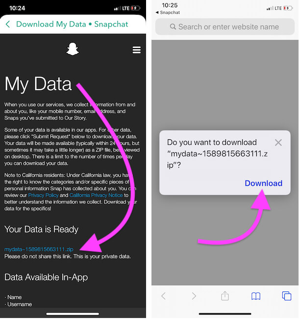 Download Snapchat Data to your iPhone files app
