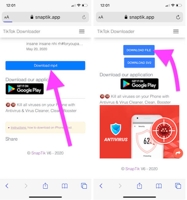 Download Video File from Browser on iPhone