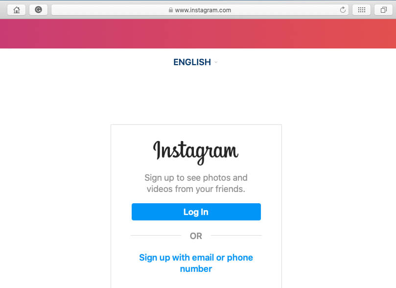 Instagram login page on safari