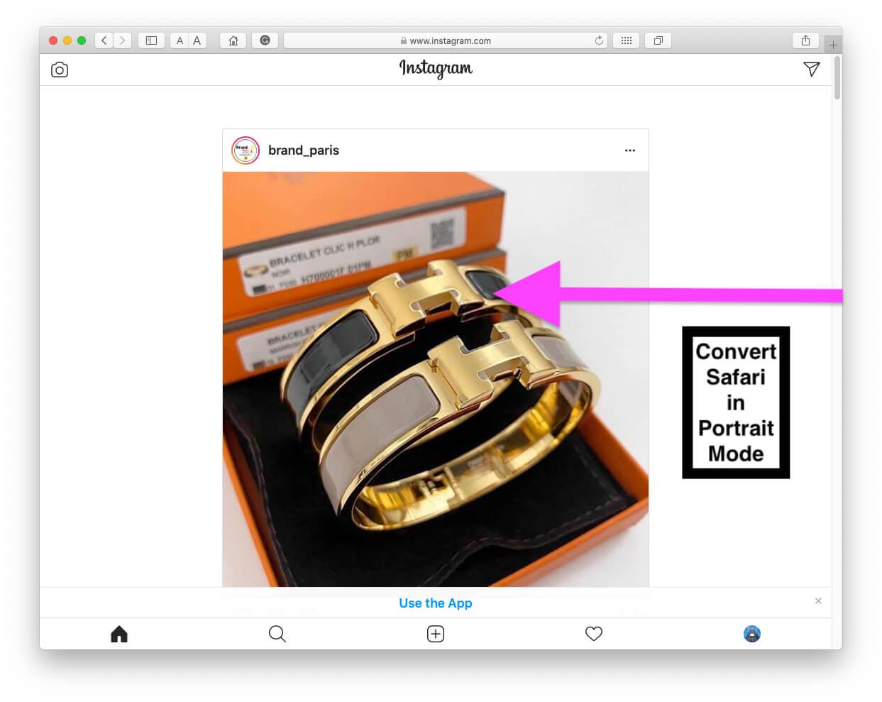 Instagram on Safari Mac full screen