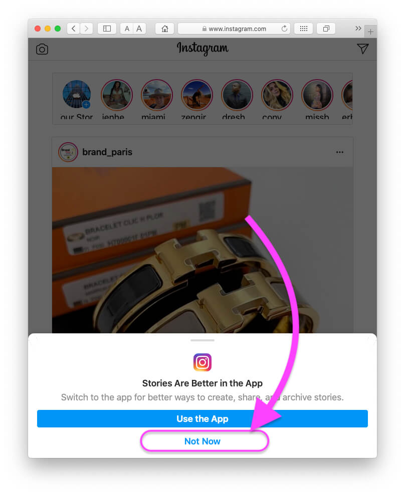 Keep using Browser for instagram on Mac browser