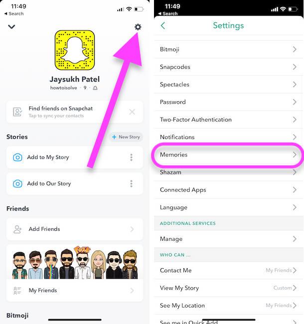 Memories Settings on iPhone snapchat app