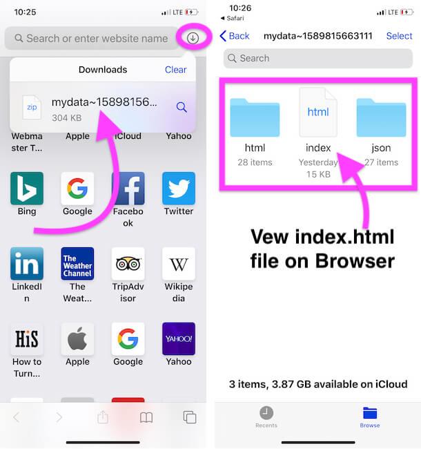 Open Snapchat Data on Files app