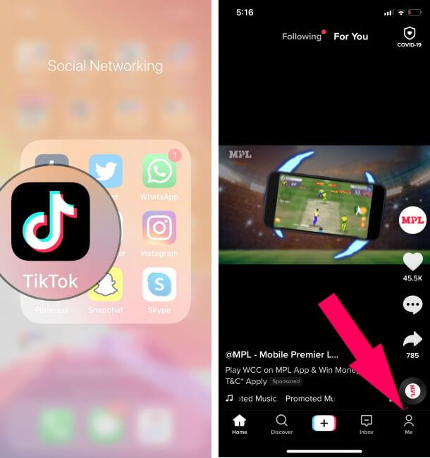 Open TikTok Profile on iPhone Tiktok app