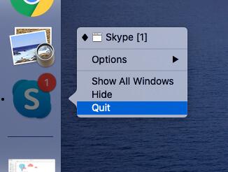 Quit Skype on MacBook Mac