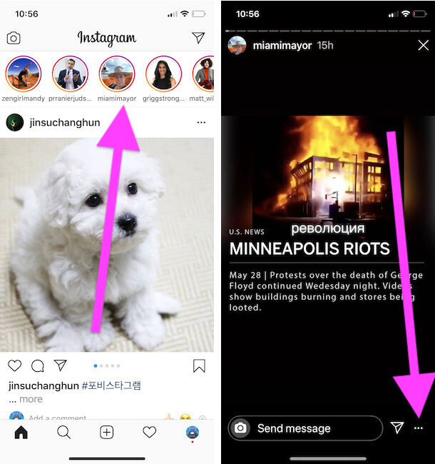 Report instagram story from iPhone instagram app