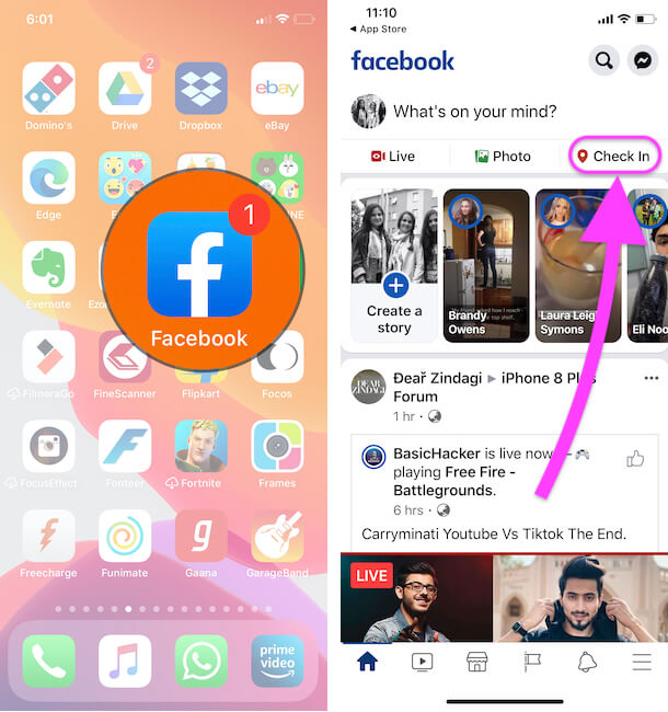Share you location on Instagram from Facebook check in Feature