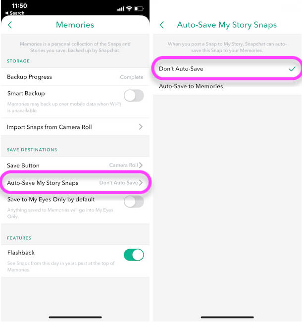 Stop Auto Save Story Snap to Memories