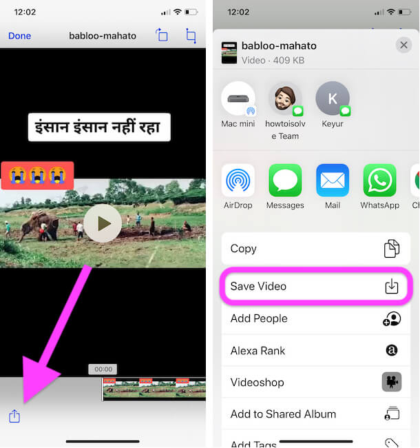 Tap on Share icon and Save video to iPhone camera roll Without TikTok Watermark
