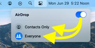 Airdrop settings on macOS Big sur