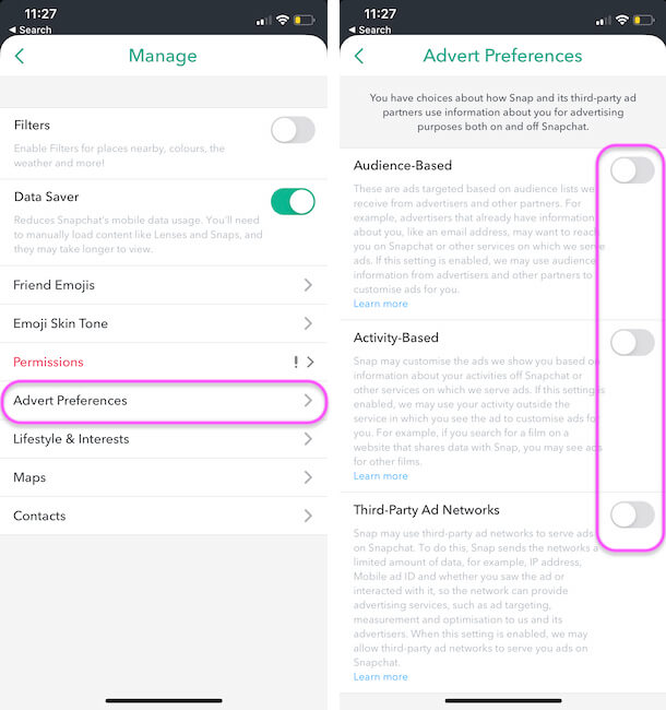 Disable Advert settings and Enable Restirctions in Snapchat iPhone app