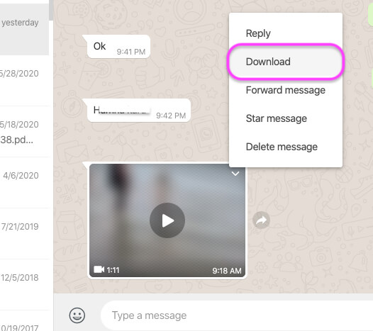 Download WhatsApp video to your Download Folder on MacBook Mac