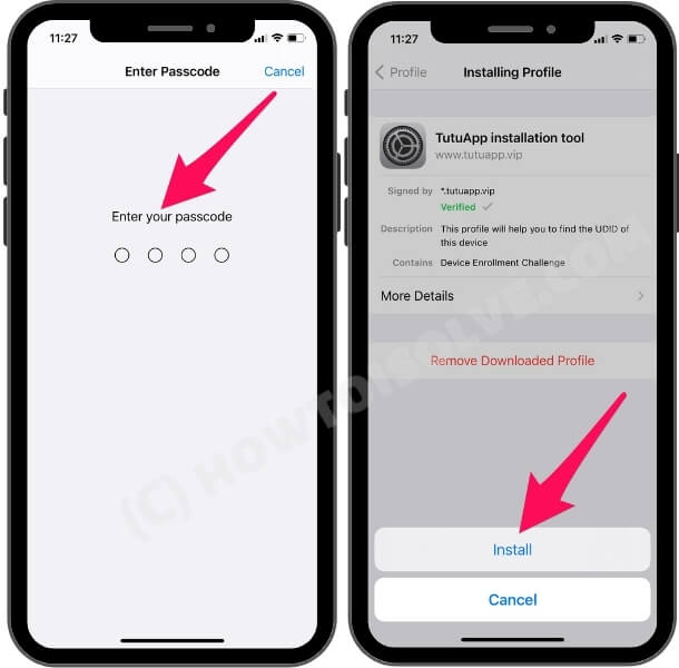 Enter you phone passcode and tap on install profile