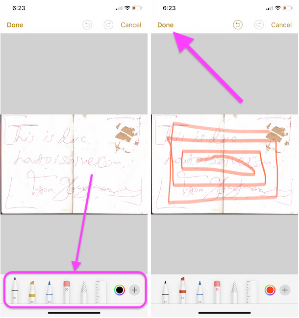Edit using markup tool and save on your notes app