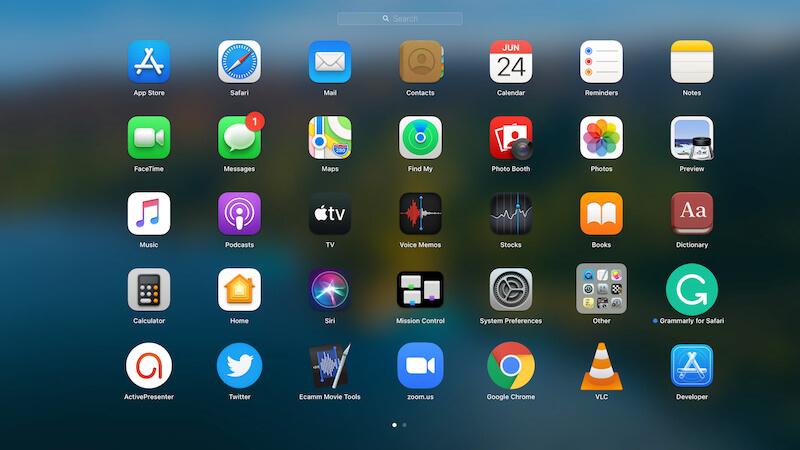 Launch pad look on macOS Big Sur