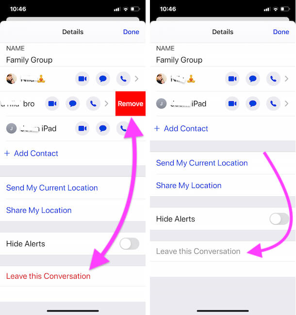 Leave This Conversation is Grayed out or Missing from Message Group info
