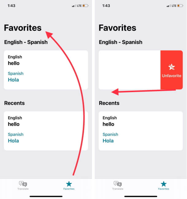 Manage Favorites and Remove from History on iPhone Translate App