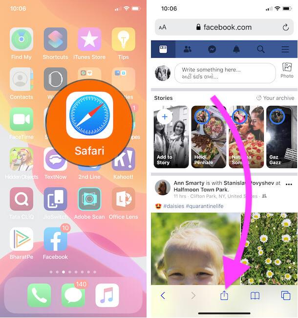 Open Facebook on iPhone Safari Browser