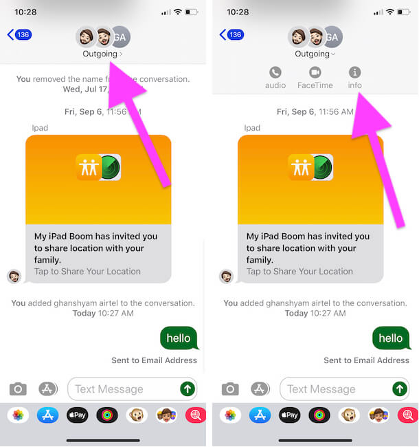 Open Group info from iMessage Group on Messages app