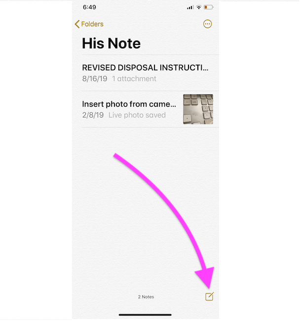 Open New Note on Existing note from iPhone notes app