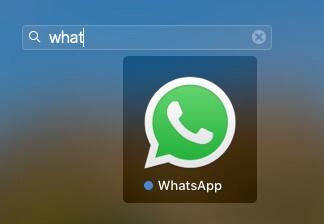 Open WhatsApp from Spotlight Search on Mac