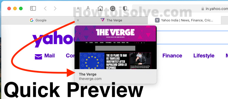 Quick Preview of Tab on MacOS Big Sure Safari