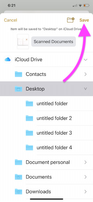 Save Scanned copy of PDF file on Files app and Share using Airdrop or Mail or Message
