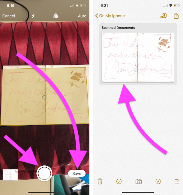 Scan & Save Scanned document on iPhone notes app