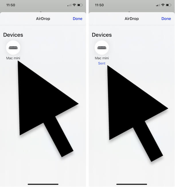 Select Apple device and Share on your Mac or MacBook