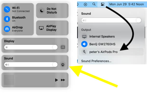 Set Airpods as a output audio device on macBook mac macOS Big Sur