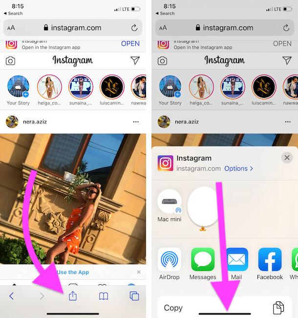 Share option on Safari iPhone app