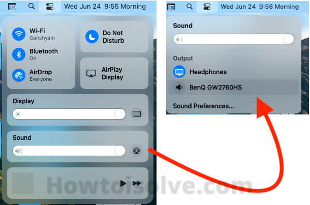 Sound Settings on MacOS Control center on macOS big sur