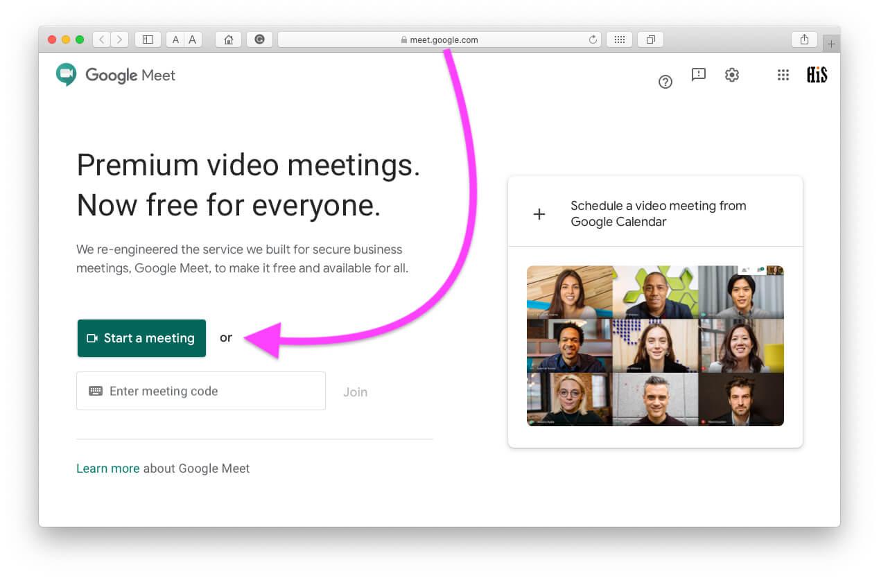 Start meeting on Google meet video meeting