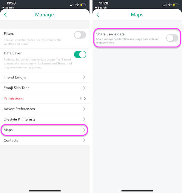 Turn off Maps app on Snapchat iPhone app