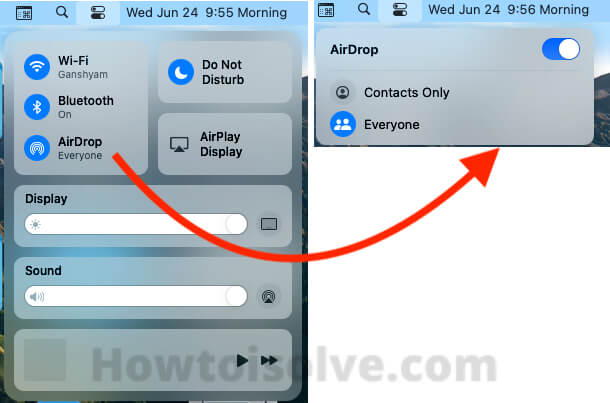macOS Big Sur AirDrop Settings on Control center