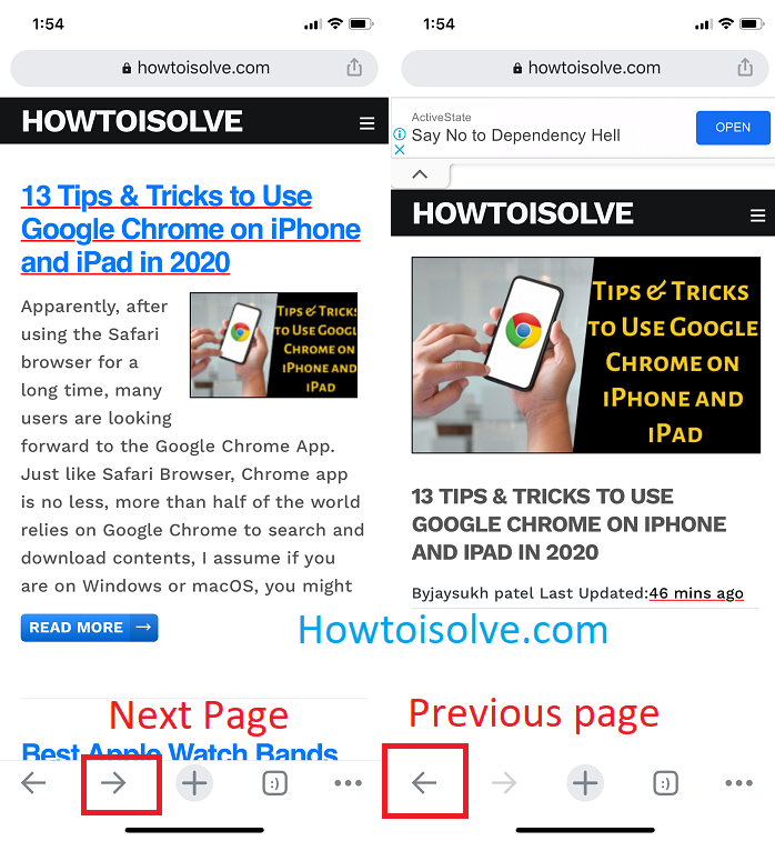 next page and previous page to switch between page quickly on google chrome iPhone ipad