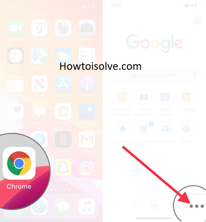 open chrome and tap on three dots icon