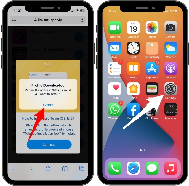 open settings app to install delta emulator profile on your iphone