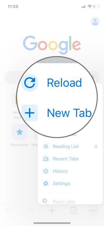 reload and ne tab setting on google chrome on iPhone iPad 2020