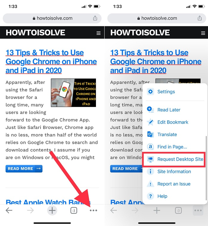 tap on three dots and scroll the pop up menu to find and tap request desktop site howtoisolve website
