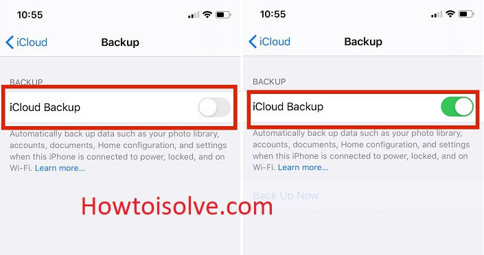 turn icloud back up switch on to take backup iPhone