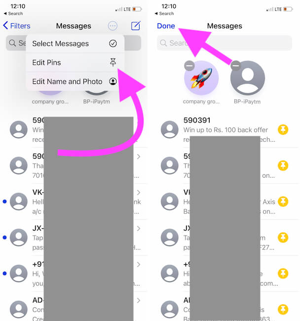 Edit pin or Remove Pin from Messages app on iPhone Messages app