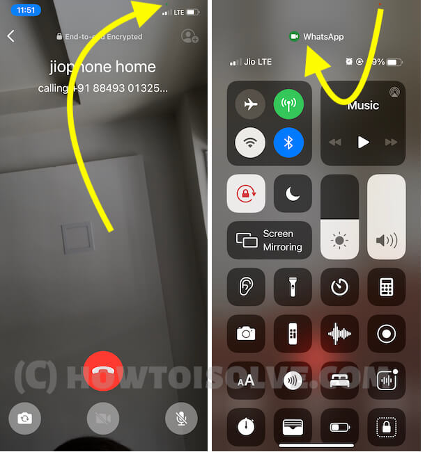 Green dot on Carrier signal on iPhone