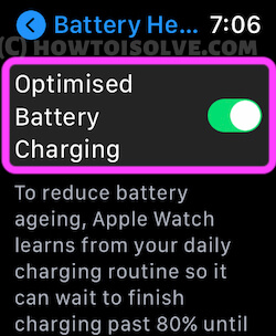 Optimised Battery Charging on Apple Watch