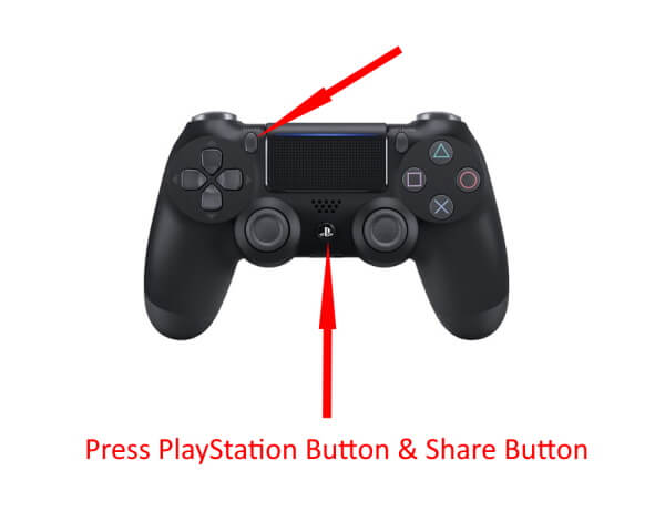 Press PlayStation Button and Share Button to Put into Pairing Mode