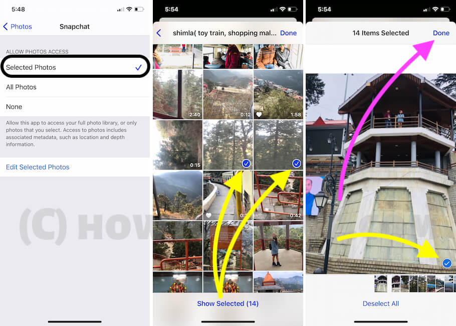 Allow Selected Photos to Snapchat iPhone app