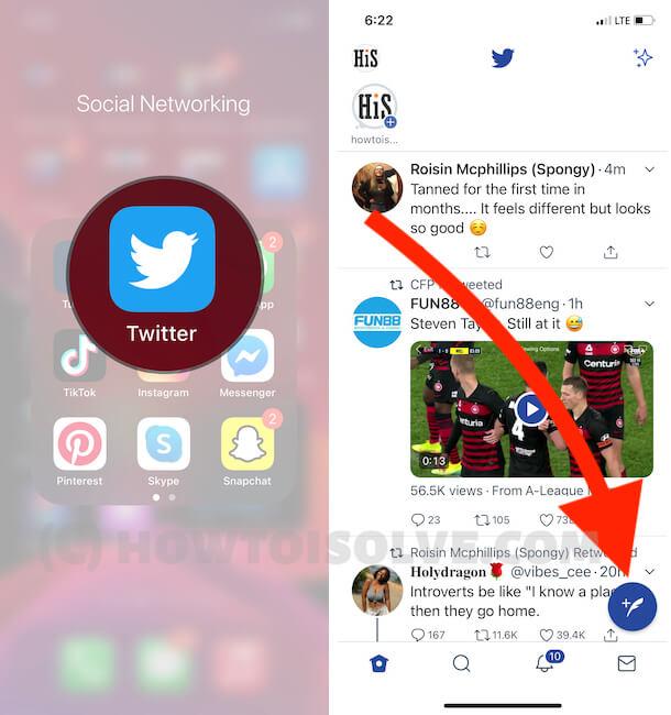 Compose new Tweet on iPhone twitter App