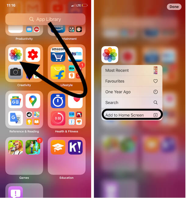 Move Photos app from iphone app library to Home screen