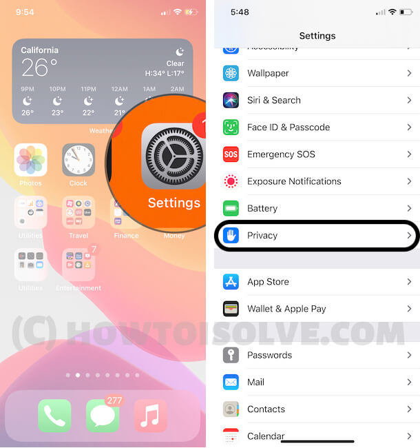 Privacy Settings on iPhone in iOS 14 Update